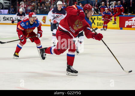 Moscow, Russia. 22nd May, 2016. Alexander Burmistrov of Russia shots to the goal during a game for the third place - Stock Photo