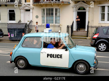 Brighton, UK. 22nd May 2016. Fake mini police car at the conclusion of the London to Brighton Mini Run which assembled - Stock Photo