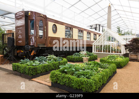 London, UK. 23 May 2016. Carriage of the Orient Express in the Grand Pavilion. Press day at the RHS Chelsea Flower - Stock Photo
