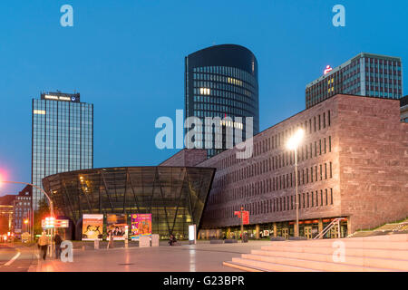Central business district with public library Stadt- und Landesbibliothek and RWE-Tower in  Dortmund, North Rhine - Stock Photo