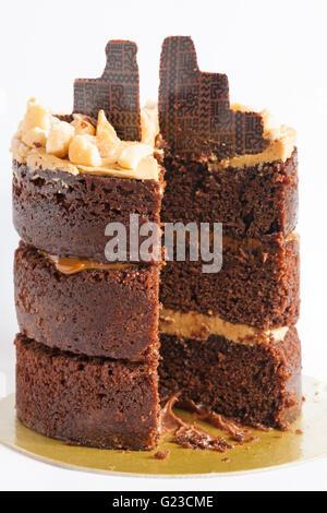 M&S Spirit of Summer Peruvian Chocolate & Coffee Layer Cake layered with Brazilian coffee buttercream & Dulce de - Stock Photo