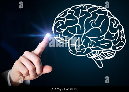 Close up of male hand touching brain on screen - Stock Photo