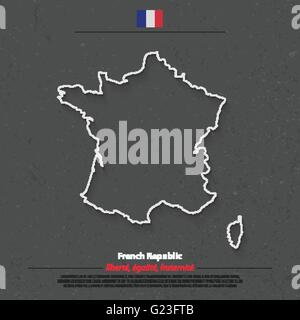 French Republic map outline and official flag icon over grunge background. vector France political map 3d illustration. - Stock Photo