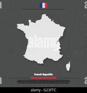 French Republic map and official flag icon over dark background. vector France political map 3d illustration. European - Stock Photo