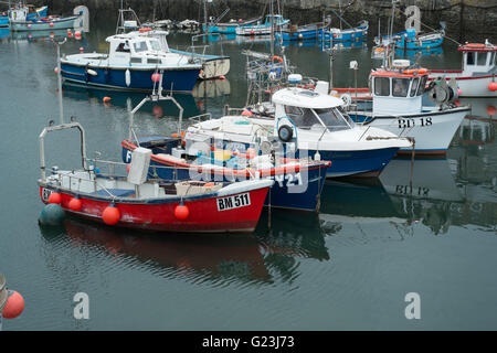Fishing boats in the harbour at Mevagissey Cornwall Great Britain - Stock Photo