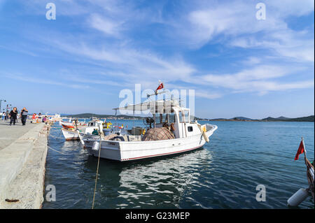 Fishing boats in Alibey Cunda Island Balikesir Turkey. Cunda Island, also called Alibey Island - Stock Photo