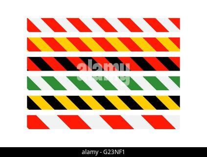 Road signs. Types of multi-colored road warning bands. Vector Il - Stock Photo