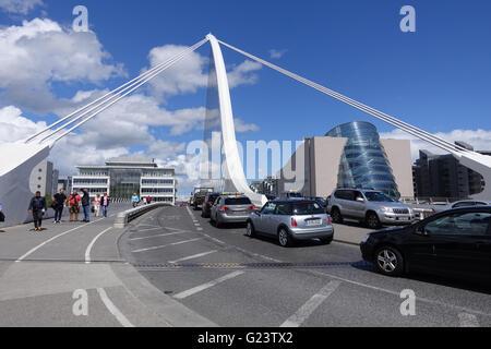 Interesting view on Samuel Beckett Bridge over the river Liffey, Dublin , Ireland - Stock Photo