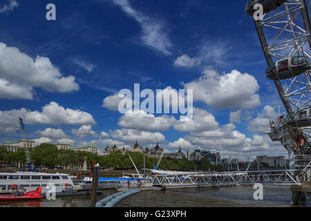 View looking at the north Bank of the River Thames from the Queen Walk near the London eye - Stock Photo