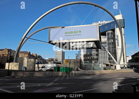 Advertisement on Silicon Roundabout structure at Old Street in Shoreditch, East London KATHY DEWITT - Stock Photo