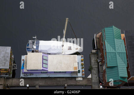 Aerial view of floating homes on Lake Union in Seattle, Washington - Stock Photo