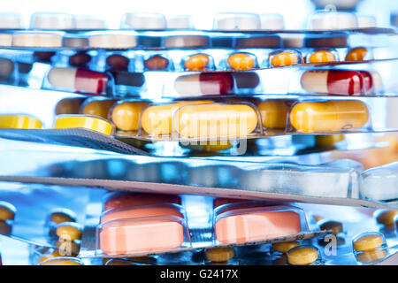 pile of many different pills - Stock Photo
