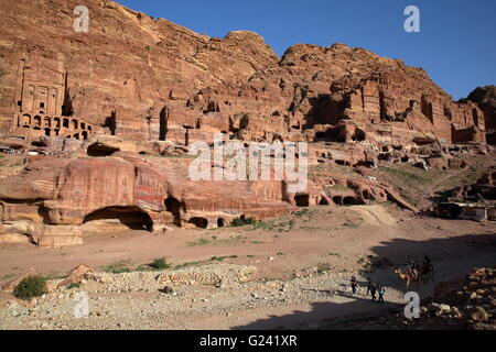 General view of the Royal Tombs in Petra, Jordan, The Urn Tomb on the left side - Stock Photo