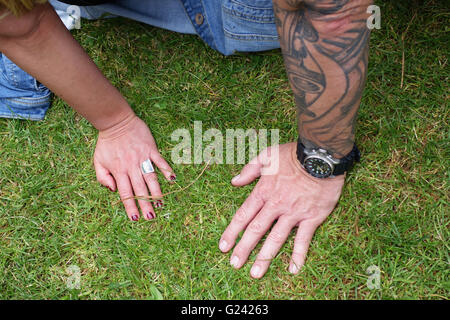 hands of young couple at rock 'n roll meeting, Venlo Netherlands Europe - Stock Photo