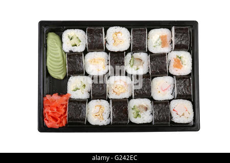 Sushi set of different rolls on a white background isolated - Stock Photo
