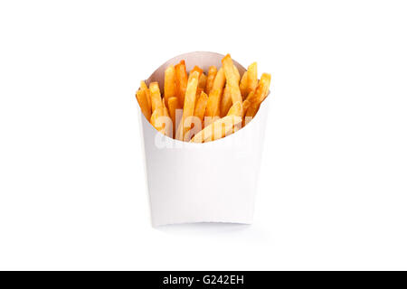 French fries in the box isolated on white background - Stock Photo