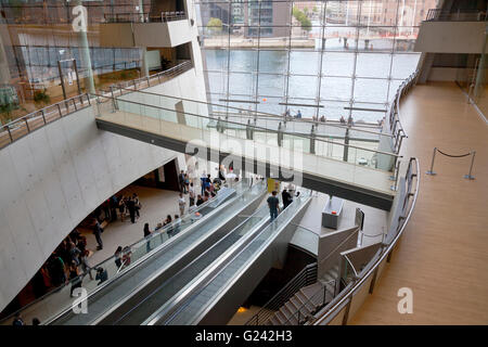 Central foyer in the Royal Library, the Black Diamond or Den Sorte Diamant, in Copenhagen. Interior and view of - Stock Photo