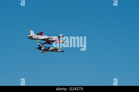 Three jets flying in close proximity to each other during the Lowveld Airshow - Stock Photo