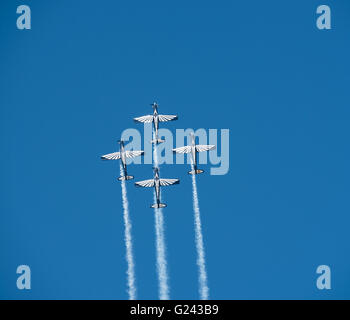 The silver falcons flying in formation during the 2016 Lowveld Airshow - Stock Photo