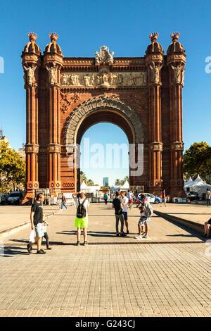 Arc de Triomf by Josep Vilaseca i Casanovas, Parc de la Ciutadella, Barcelona, Catalonia, Spain - Stock Photo