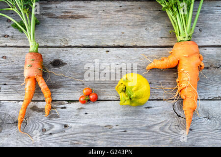 Trendy organic carrot, tomatos leek and lemon from home garden bed on barn wood table, Australian grown. - Stock Photo
