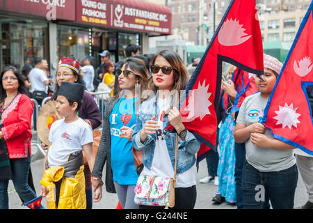 Hundreds of members of the Nepalese diaspora with their families and supporters march in New York for the first - Stock Photo