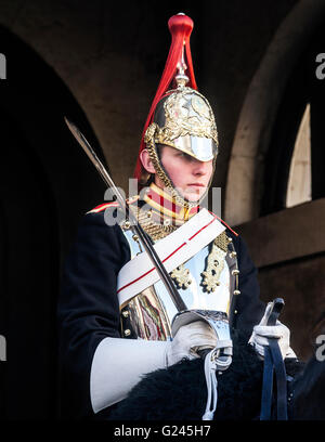 Mounted Blues and Royals Household Cavalry Trooper, Horseguards Parade, London, England. - Stock Photo