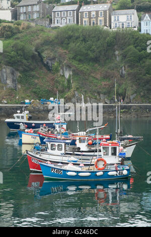 Fishing boats in the harbour at Mevagissey Cornwall Great Britain UK - Stock Photo