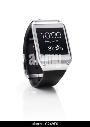 Samsung Galaxy Gear smartwatch showing time and weather - Stock Photo