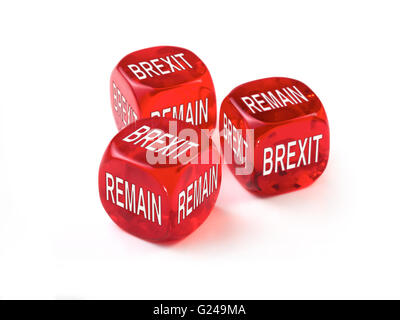 Brexit or remain dice concept. United Kingdom European Elections voting on leaving the European Union. Independence - Stock Photo
