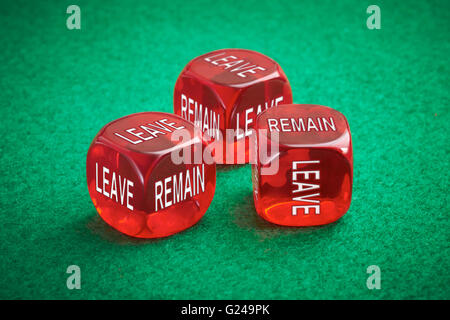 Leave or remain dice concept. United Kingdom European Elections to decide whether to leave the European Union for - Stock Photo