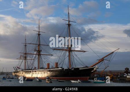 HMS Warrior at Portsmouth Historic Dockyard, Portsmouth, Hampshire, England - Stock Photo