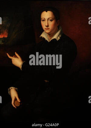 Cosimo I de Medici (1519-1574). Portrait by the Italian Mannerist painter Bronzino (Agnolo di Cosimo), (1503-1572). - Stock Photo