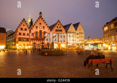 Römer, town hall on the Römerberg at night, Frankfurt am Main, Hesse, Germany - Stock Photo