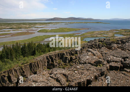 Tectonic plate boundaries in Thingellir National Park at Parliament Iceland - Stock Photo