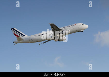 BUCHAREST, ROMANIA - May 18, 2016: An Air France Airbus A320-214 taking off from Henri Coanda International Airport - Stock Photo