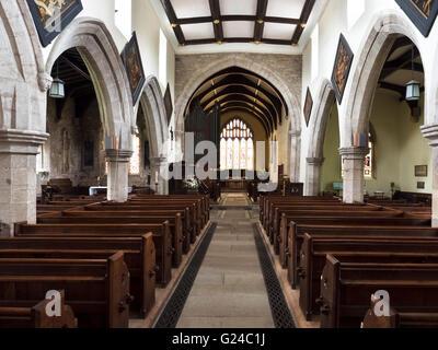 St Andrews Church Interior Aldborough near Boroughbridge North Yorkshire England - Stock Photo