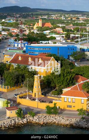 Town of Kralendijk on the Caribbean island of Bonaire, West Indies - Stock Photo