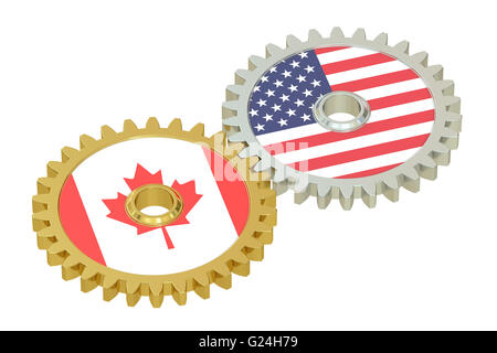Canadian and United States relations concept, flags on a gears. 3D rendering isolated on white background - Stock Photo