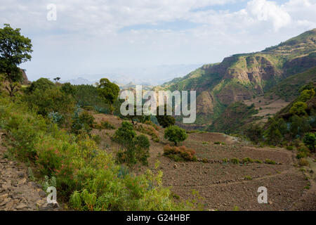 Overlooking a valley in the Simien Mountains National Park, Amhara Region, Ethiopia - Stock Photo