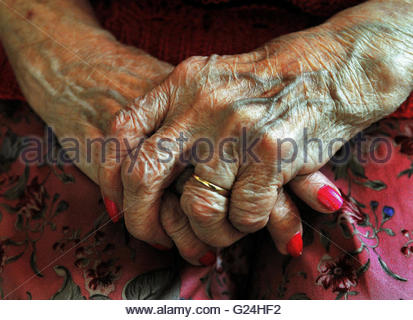 Embargoed to 0001 Tuesday May 24 File photo dated 05/12/08 of the hands of an elderly woman. England would get knocked - Stock Photo