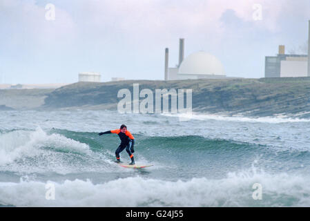 Surfer on Sandside Bay with Dounreay Nuclear reactor in background - Stock Photo