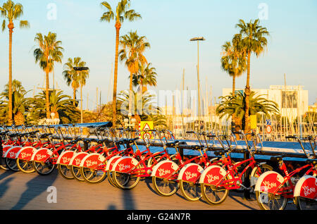 Bicing city bikes at Port Vell Barcelona - Stock Photo