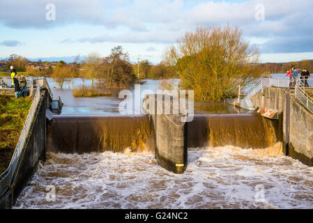 Flood defences in action on the River Wyre at Garstang Lancashire England - Stock Photo