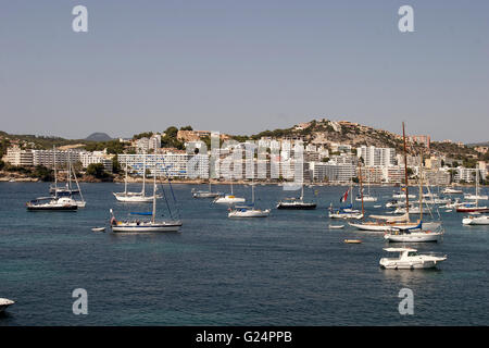 a beautiful picture of a bay with boats in Palma de Mallorca, Spain, seaside, tourism, holidays, boats, crystal - Stock Photo