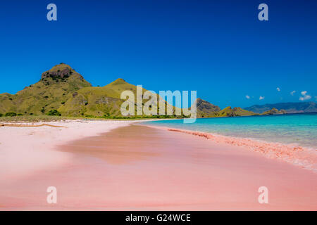 Pink Beach in Komodo Island Indonesia - Stock Photo