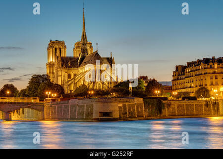 The famous Notre Dame cathedral in Paris at dawn - Stock Photo