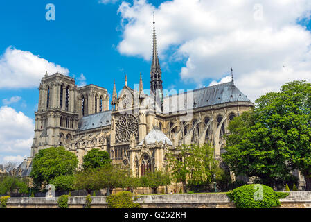 The famous Notre Dame cathedral in Paris on a summer day - Stock Photo