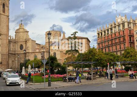Plaza de la Reina in front of Valencia Cathedral - Stock Photo
