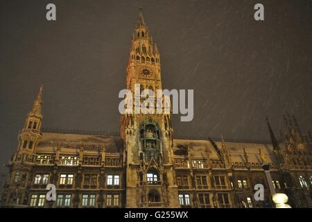 Night scene of town hall at the Marienplatz in Munich, Germany - Stock Photo